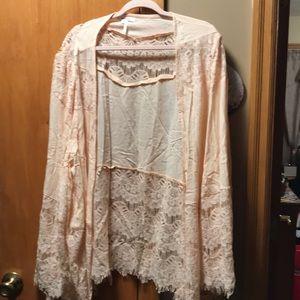Women's long sleeve laced blouse cardigan 3XL